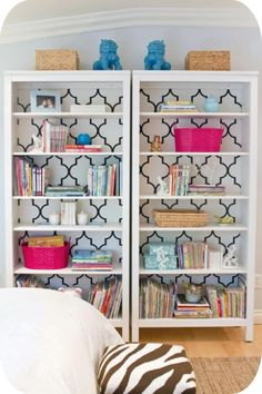Ikea Hemnes bookshelf with wallpaper Southern Curls & Pearls: Furniture Re-do's.  Ooohhh! Could do graphic behind and use as kitchen storage. This or the gray-brown shade.