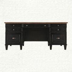 Beckett Executive Desk With Milled Pine Parquet Top In Black | Arhaus Furniture