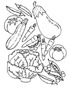 Does your kid love fruits & vegetables? Then why not give your little one these printable fruits and vegetable coloring pages. Garden Coloring Pages, Vegetable Coloring Pages, Fruit Coloring Pages, Coloring Book Pages, Printable Coloring Pages, Coloring Sheets, Free Coloring, Coloring Pages For Kids, Online Coloring