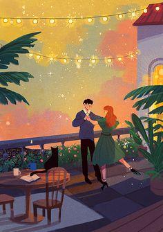 Art And Illustration, Watercolor Illustration, Cute Couple Drawings, Cute Couple Art, Fantasy Kunst, Fantasy Art, Pretty Art, Cute Art, La Reverie