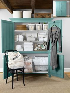 Linen closet- use an amour for a make shift linen closet in homes without one, or requiring extra storage.