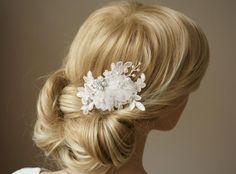 """Haarschmuck & Kopfputz - Braut Fascinator Headpiece """"Colleen"""" Spitze ivory  - ein Designerstück von Elizabethmode bei DaWanda"""