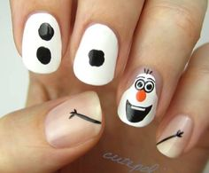Olaf Frozen nail art - for my daughter. Cute!