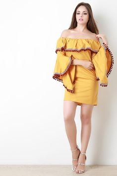 Pom Pom Bell Sleeve Bardot Mini Dress