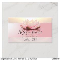 Shop Elegant Stylish Lotus Referral Card created by Biglibigli. Gold Business Card, Elegant Business Cards, Referral Cards, Standard Business Card Size, Wedding Announcements, Lotus, Place Card Holders, Stylish, Paper