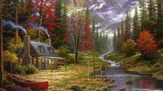 123540-painting-cottage-canoes-river-fishing-forest-chimneys-Thomas_Kinkade-748x421.jpg (748×421)