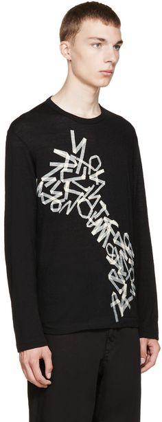 Yohji Yamamoto Black Wool Print Sweater