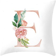 Floral Alphabet - blush / peach color letter E with flowers bouquet composition. Unique collection for wedding invites decoration and many other concept ideas. - Buy this stock illustration and explore similar illustrations at Adobe Stock Flower Letters, Monogram Letters, Monogram Wallpaper, Letter Wall Art, Flower Pillow, Peach Colors, Nursery Art, Floral Watercolor, Illustration
