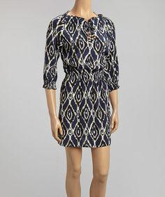 Another great find on #zulily! Navy Ikat Chloe Silk Dress by Amour Vert #zulilyfinds