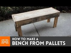 Learn how to make a bench from reclaimed pallet wood. The bench top is laminated strips. You can help support my videos by becoming a patron at http://www.pa...