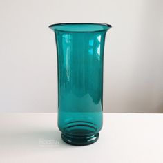 Vintage Aqua Blue Tall Cylinder Vase Blenko Style