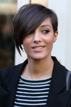 Frankie Sandford of The Saturdays again with the same asymmetrical pixie but straightened out and angular.
