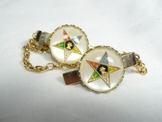 Vintage 50's Order Of Eastern Star Sweater Guard Lucite Dome