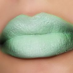 These green ombre lips are certainly bold. Whatever the occasion, this lip shade is going to get noticed. Lip Makeup, Makeup Eyeshadow, Pucker And Pout, Catwalk Makeup, Green Lips, Candy Lips, Nice Lips, Ombre Lips, Kissable Lips