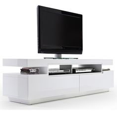 Weston LCD TV Stand In White High Gloss With 2 Drawers 26420
