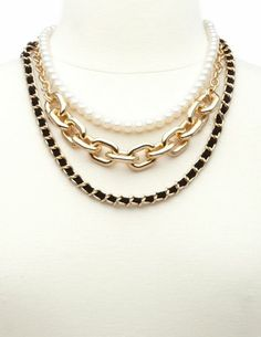Pearl, Suede, & Chain Layered Necklace: Charlotte Russe