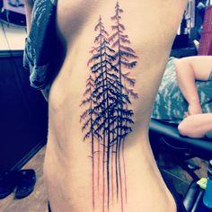 Pine tree tattoo. Electric arts tattoo. Grey and black love my rib tattoo