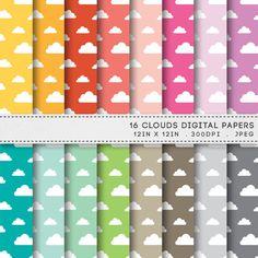 Clouds Digital Paper Printable Paper Pack Printable Spring Clouds Patterns by AzmariDigitals