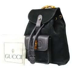 717c951189c Authentic Vintage GUCCI Bamboo Mini Dark Green Suede Leather Italy Backpack