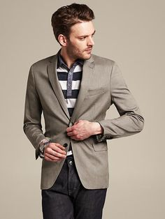 Tailored-Fit Taupe Cotton Blazer Product Image