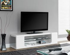 Monarch Specialties Tv Stand - 60L / High Glossy White With Tempered Glass