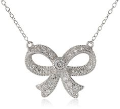 Sterling Silver Cubic Zirconia Milgrain Bow Necklace (0.5 cttw), 17' -- Read more  at the image link.