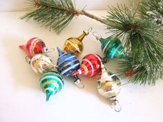Vintage Glass Christmas Tree Ornaments by RollingHillsVintage