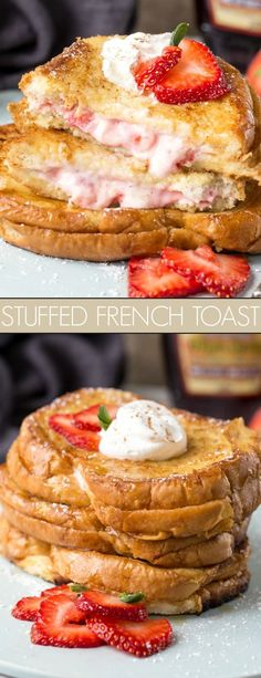 Strawberry Cheesecake Stuffed French Toast Recipe – Valentina's Corner Strawberry Cheesecake Stuffed French Toast Recipe. Classic french toast stuffed with a strawberry cheesecake filling. The perfect recipe for breakfast or brunch! Strawberry French Toast, Strawberry Breakfast, Gourmet Recipes, Cooking Recipes, Make French Toast, French Toast Recipes, French Toast Sandwich, Healthy French Toast, Recipes
