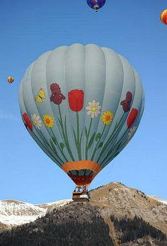 I want my own hot air balloon. Maybe we could live in the hilly forest above a valley where we could take our hot air balloon for a ride. I love this one with the flowers! Air Balloon Rides, Hot Air Balloon, Air Ballon, Air Ride, Paragliding, Helium Balloons, Ciel, New Zealand, Cool Pictures