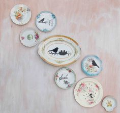 8 Hand Painted Ceramic DISHES Collection Wall by redtruckdesigns,
