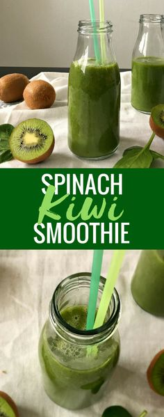 Vegan Spinach Kiwi Smoothie - a tasty and Vitamin C packed drink for breakfast. Super healthy and helps with inflammation. | The Green Loot #vegan