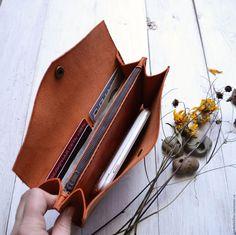 """Купить Кошелек """"Мандаринка"""" - рыжий, оранжевый, кошелек из кожи, портмоне, кожаный кошелек, портмоне из кожи"""