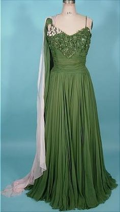 """1950's ORIGINAL by RUDOLF Gown of Draped and Ruched Light Forest Green Silk Chiffon with Pink and Green Chiffon """"Scarves"""" with Fabulously Ornamented Bodice"""