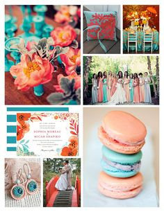 amazing wedding color scheme! coral and turqouise