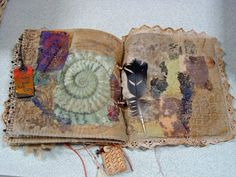 How about using fiber in our art journals? Looks like fun!  fabric book by Annette Bolton