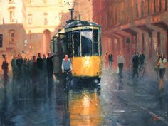 oil painting | Milan, Italy - Trolley Car | Ugallery Online Art Gallery