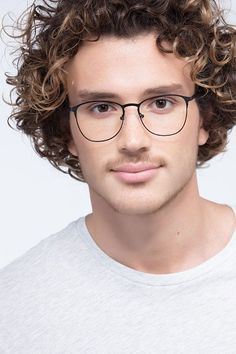 Matte Black oval eyeglasses available in variety of colors to match any outfit. These stylish full-rim, large sized metal eyeglasses include free single-vision prescription lenses, a case and a cleaning cloth. Designer Glasses For Men, Designer Prescription Glasses, Prescription Lenses, Lens And Frames, Eye Frames, Top Hairstyles, Black Square, Mens Glasses, Matte Black