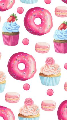 Baking Wallpaper, Go Wallpaper, Pattern Wallpaper, Wallpaper Backgrounds, Candy Drawing, Cupcakes Wallpaper, Cupcake Tattoos, Ariana Grande Drawings, Paper Case