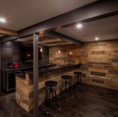Rustic basement bar with steel beams and wood wall #homebardecoration