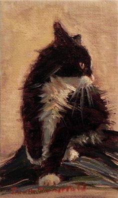 "Daily Paintworks - ""Tiny Feisty Kitten"" - Original Fine Art for Sale - © Jonelle Summerfield"