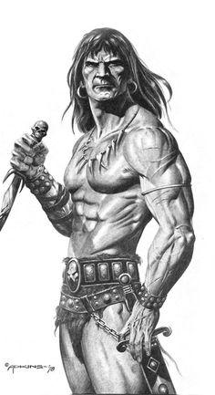 Powerful and muscular Conan pose by Dan Adkins