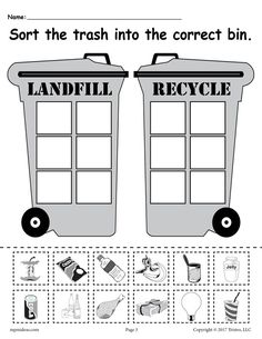 Landfill or Recycle Soda Cup Worksheet