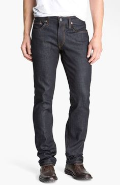 Free shipping and returns on J Brand 'Kane' Slim Straight Leg Jeans (Raw) at Nordstrom.com. A flawless dark, dry wash lends a uniform finish to slim-leg jeans styled for a modern fit. Raw denim is stiff at first, but will soften with time and wear. Those in the know suggest sizing down and washing very infrequently. That will allow the denim to conform to your shape and take on the personal wear lines and fading unique to you.