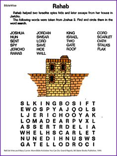 Kids Will Enjoy This Fun Word Search About Rahab Who Helped Two Of Joshuas Spies Hide In Her House Jericho
