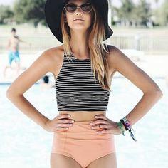 Women's Tankinis Set Push-up Padded Stripe Tank Top High Waist Swimwear