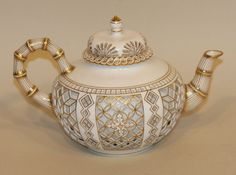 RARE Sevres France Honeycomb Reticulated Porcelain Gold Bamboo Teapot with Lid