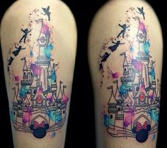 Watercolor castle tattoo