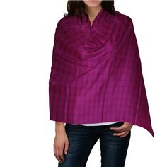 Hot Pink Color Check Print Semi Pashmina Wool Stole