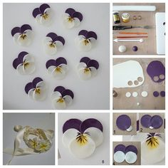 If you like pansies these are the way to go for simple shaped flowers! The actual tutorial has a ton of step by step pictures to check out. You can use purple acrylic paint (on raw or baked) or goo…