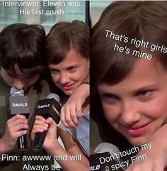 "Mileven♥ cutest ship | ""Don't touch my spicy Finn,"" may be the best sentence I've read all week."